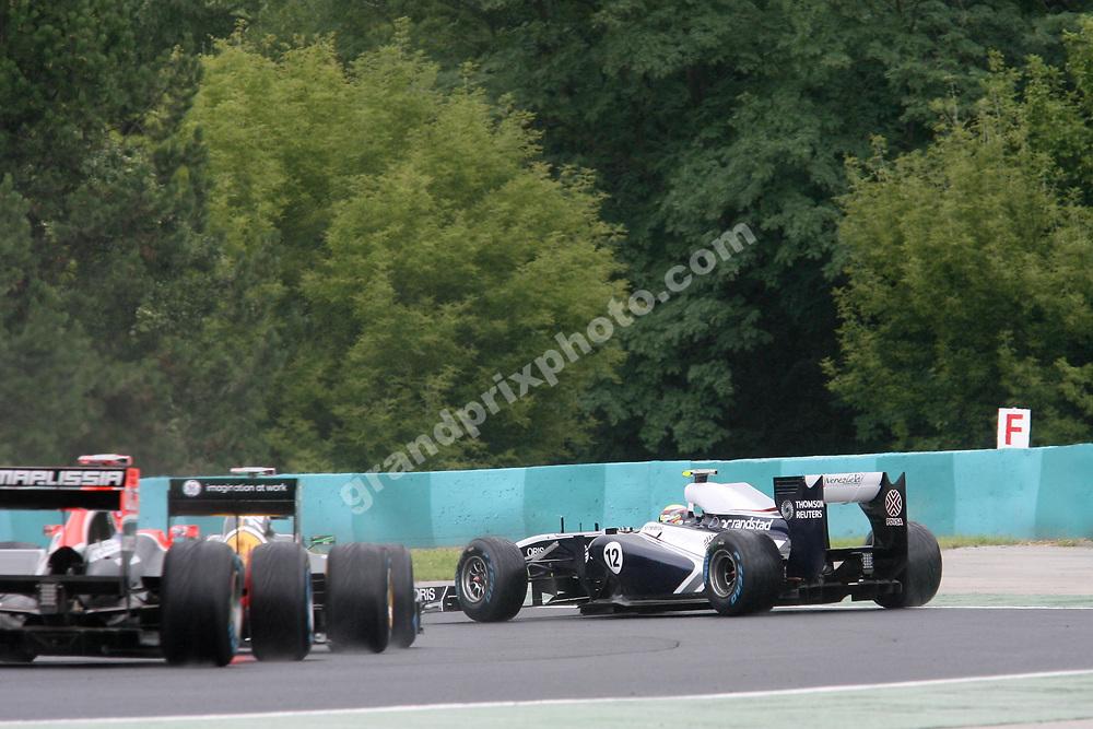 Pastor Maldonado (Williams-Cosworth) of the track in the 2011 Hungarian Grand Prix at the Hungaroring. Photo Grand Prix Photo