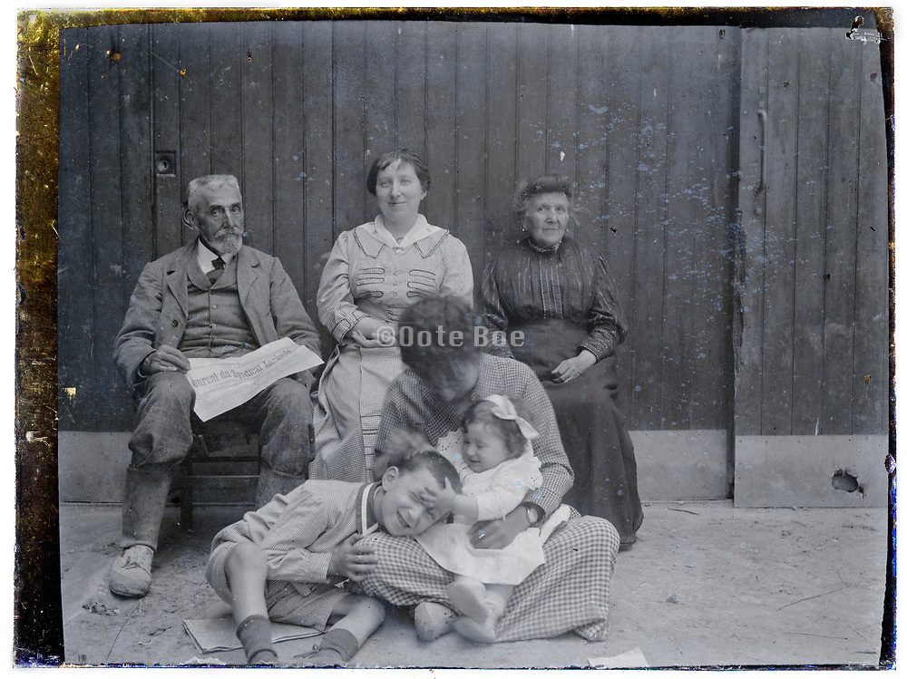 1900s rural family casual group moment glass plate
