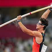 TOKYO, JAPAN August 3:   Ersu Sasma of Turkey in action during the Pole Vault Final for Men at the Olympic Stadium during the Tokyo 2020 Summer Olympic Games on August 3rd, 2021 in Tokyo, Japan. (Photo by Tim Clayton/Corbis via Getty Images)