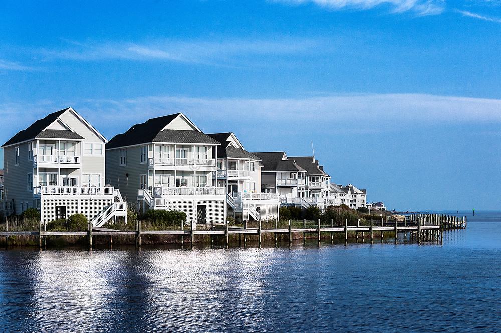 Waterfront houses, Sailfish Point, Roanoke Island, Outer Banks, North Carolina