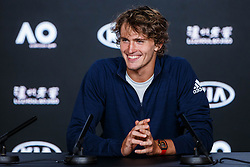 January 12, 2019 - Melbourne, VIC, U.S. - MELBOURNE, VIC - JANUARY 12: ALEXANDER ZVEREV (GER) during press conference day of the 2019 Australian Open on January 12, 2019 at Melbourne Park Tennis Centre Melbourne, Australia (Photo by Chaz Niell/Icon Sportswire) (Credit Image: © Chaz Niell/Icon SMI via ZUMA Press)