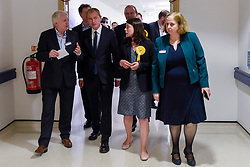 © Licensed to London News Pictures. 01/06/2017. London, UK.  Liberal Democrat Leader Tim Farron and LibDem Brexit Spokesman Nick Clegg, accompanied by Ed Davey and Sarah Olney, with senior hospital staff during a visit to Kingston Hospital.  Photo credit : Stephen Chung/LNP