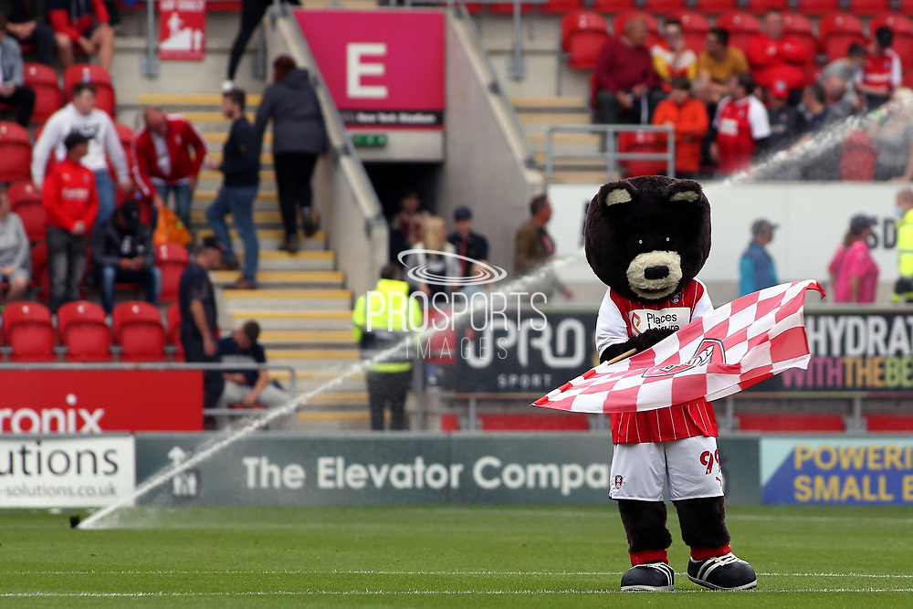 The Rotherham United Mascot waving a flag during the EFL Sky Bet League 1 match between Rotherham United and Plymouth Argyle at the AESSEAL New York Stadium, Rotherham, England on 7 August 2021.