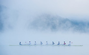 Aiguebelette, FRANCE,  RUS M8+, Training on the misty Lac d'Aiguebelette, with low laying cloud.   2015 FISA World Rowing Championships, Venue, Lake Aiguebelette - Savoie. <br /> <br /> Sunday  06/09/2015  [Mandatory Credit. Peter SPURRIER/Intersport Images]. © Peter SPURRIER, Atmospheric, Rowing