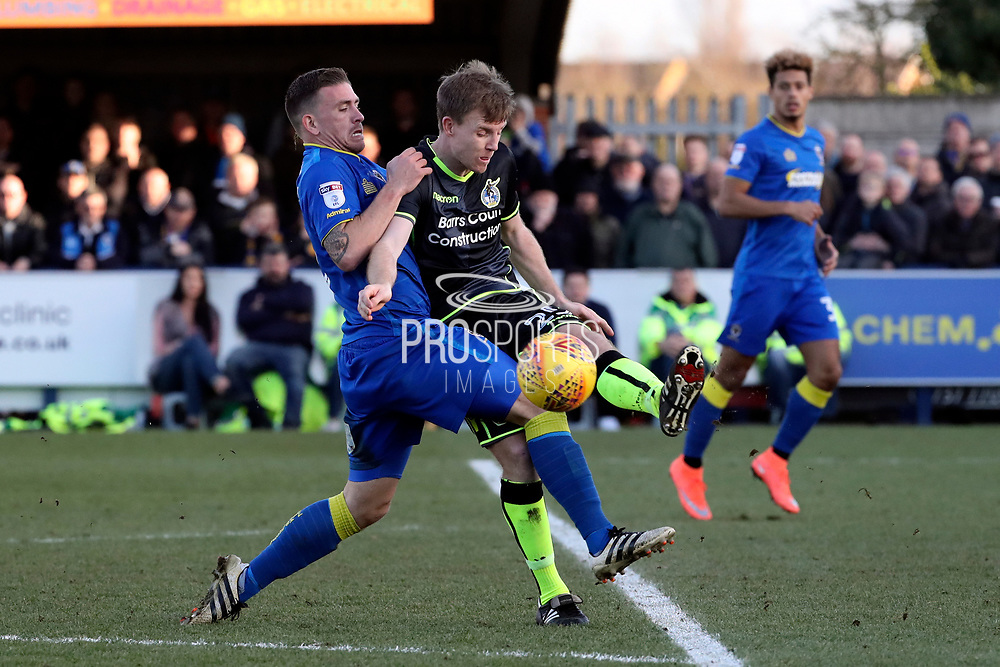 AFC Wimbledon striker Cody McDonald (10) battles for possession during the EFL Sky Bet League 1 match between AFC Wimbledon and Bristol Rovers at the Cherry Red Records Stadium, Kingston, England on 17 February 2018. Picture by Matthew Redman.