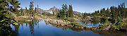 Hibox Mountain (6547 feet / 1996 meters), Rampart Lakes, Alpine Lakes Wilderness, Wenatchee National Forest, Washington. The panorama was stitched from 4 images.