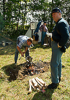 5th Regiment NH Civil War Volunteers present activities from of regiment of soldiers in 1862 during Sanbornton Old Home Day festivities August 18, 2012.  (Karen Bobotas/for the Concord Monitor)