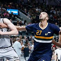 02 April 2017: Utah Jazz center Rudy Gobert (27) vies for the rebound with San Antonio Spurs guard Kyle Anderson (1) and San Antonio Spurs forward Davis Bertans (42) during the San Antonio Spurs 109-103 victory over the Utah Jazz, at the AT&T Center, San Antonio, Texas, USA.