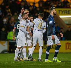 Livingston Steven Lawless cele scoring their third goal from a penalty. Livingston 3 v 1 Raith Rovers, William Hill Scottish Cup played 18/1/2020 at the Livingston home ground, Tony Macaroni Arena.