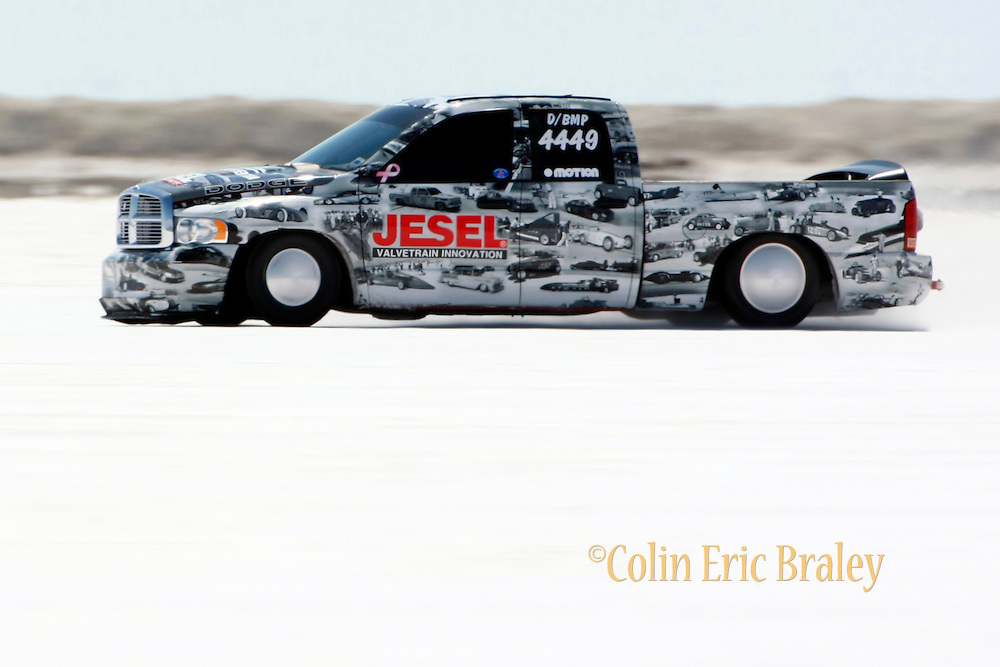 The best cars-people-atmosphere-photos of 2009 Bonneville Speed Week- The Jesel Land Speed Team's 2005 Blown Modified, Dodge Ram Pickup, driven by Wayne Jesel of Mooresville, North Carolina, makes a run at the Bonneville Speed Way. August 9, 2009.  Photo by Colin E. Braley