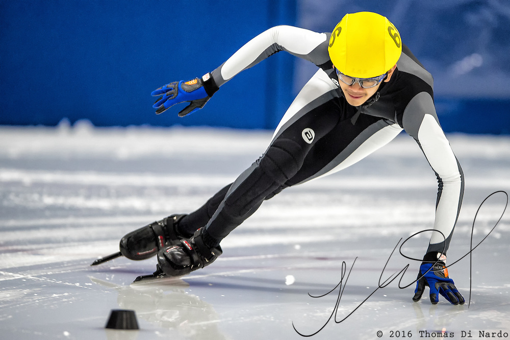 March 18, 2016 - Verona, WI - Jon Ricardo Aquino, skater number 66 competes in US Speedskating Short Track Age Group Nationals and AmCup Final held at the Verona Ice Arena.