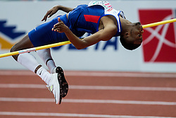 Chris Kandu of Great Britain competes in the High Jump Men Qualification on day two of the 2017 European Athletics Indoor Championships at the Kombank Arena on March 4, 2017 in Belgrade, Serbia. Photo by Vid Ponikvar / Sportida