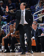 Baylor head coach Scott Drew sends in a play during the second half against Kansas State at Bramlage Coliseum in Manhattan, Kansas, January 17, 2007. K-State beat Baylor 69-60.