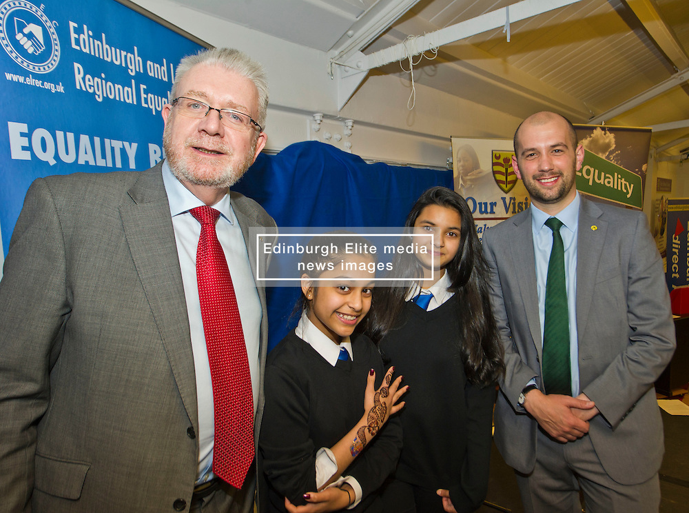 Pictured: Mike Russell and fellow MSP Ben MacPherson meets some of the pupils at Drummond Community High School<br /> <br /> SNP Brexit minister Mike Russell spoke at an Edinburgh and Lothians Regional Equality Council event which aimed to facilitate discussion between service providers in the public and third sectors, and asylum seekers and refugees in order to hear about the circumstances and needs.<br /> <br /> Ger Harley | EEm 6 December 2016