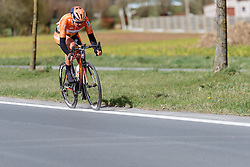 Chantal Blaak goes solo to Wevelgem, closely following the long white line to the finish - Women's Gent Wevelgem 2016, a 115km UCI Women's WorldTour road race from Ieper to Wevelgem, on March 27th, 2016 in Flanders, Belgium.