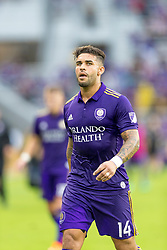 May 13, 2018 - Orlando, FL, U.S. - ORLANDO, FL - MAY 13: Orlando City forward Dom Dwyer (14) during the MLS soccer match between the Orlando City and the Atlanta United on May 13th, 2018 at Orlando City Stadium in Orlando, FL. (Photo by Andrew Bershaw/Icon Sportswire) (Credit Image: © Andrew Bershaw/Icon SMI via ZUMA Press)