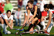 13 NOV 2005: Forward Sara Hohenberger (13) of University of Massachusetts-Lowell tries to block the shot of forward Jamie Vanartsdalen (2) of Bloomsburg University during the 2005 NCAA Women's Division 2 Field Hockey Championships held at the Robb Sporting Complex on the campus of Shippensburg University in Shippensburg, PA.  University of Massachusetts - Lowell defeated Bloomsburg University 2-1 in double overtime to win the national title. Brett Wilhelm/NCAA Photos