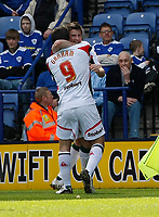 Photo: Steve Bond/Richard Lane Photography. Leicester City v Carlisle United. Coca Cola League One. 04/04/2009. Michael Bridges (back) celebrates his goal with Danny Graham
