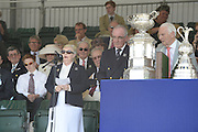 Henley on Thames. United Kingdom.  Prize giving, left. left Dame Diana ELLIS, Honorary President of British Rowing and Regatta Chairman, Mike SWEENEY.  2013 Henley Royal Regatta, Henley Reach. 16:45:49  Sunday  07/07/2013 Mandatory Credit; Peter Spurrier/Intersport Images]