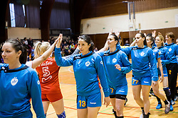 Mirjeta Bajramoska of RK Krim Mercator, Vesna Milanovic Litre of RK Krim Mercator, Ana Zrimsek of RK Krim Mercator celebrate after the handball match between RK Krim Mercator and ZRK Z'Dezele Celje in Last Round of Slovenian National Championship 2016/17, on April 18, 2017 in Arena Galjevica, Ljubljana, Slovenia. Photo by Vid Ponikvar / Sportida
