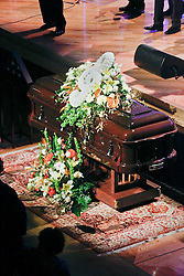 20 November 2015. Orpheum Theater, New Orleans, Louisiana. <br /> Memorial service for musician Allen Toussaint. <br /> Mr Toussaint's casket.<br /> Photo; Charlie Varley/varleypix.com