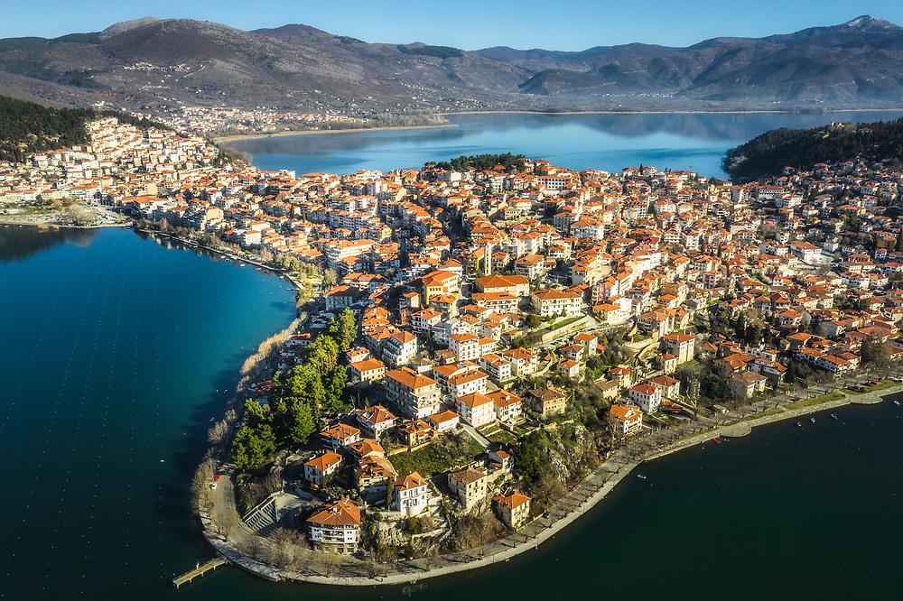 Aerial view of Kastoria in Western Macedonia, Greece