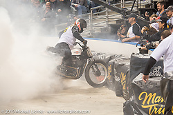 Flat Out Friday indoor flat track racing during the Mama Tried Show weekend. Milwaukee, WI. USA. Friday February 23, 2018. Photography ©2018 Michael Lichter.