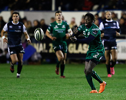Niyi Adeolokun of Connacht<br /> <br /> Photographer Simon King/Replay Images<br /> <br /> Guinness PRO14 Round 7 - Ospreys v Connacht - Friday 26th October 2018 - The Brewery Field - Bridgend<br /> <br /> World Copyright © Replay Images . All rights reserved. info@replayimages.co.uk - http://replayimages.co.uk