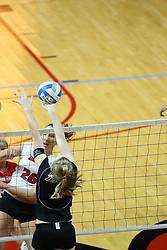 26 October 2007: Kari Staehlin strikes it hard in the direction of blocker Nicole Brown. The Drake Bulldogs were defeated 3 - 0  by the Illinois State Redbirds at Redbird Arena on the campus of Illinois State University in Normal Illinois.