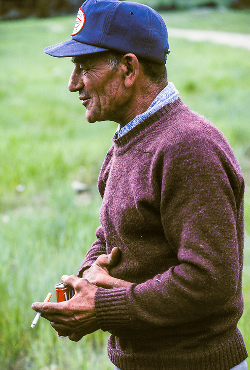 Cornelius likes his tobacco as he tends his sheep north of Sun Valley in Central Idaho.  Licensing and Open Edition Prints.