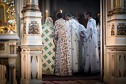 """3 June 2018, Novi Sad, Serbia: Sunday service in the Eastern Orthodox Cathedral Church of the Holy Great Martyr George. On 31 May - 6 June 2018, in Novi Sad, Serbia, the Serbian Orthodox Church stood as one of the host churches of the Conference of European Churches General Assembly. More than 400 delegates, advisors, stewards, youth, staff, and distinguished guests took part in the Assembly and related events, gathered under the theme, """"You shall be my witnesses""""."""