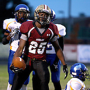 Ashley High School's Charles Dent looks back to the Ashley bench after a reception in the first quarter against Laney High School Friday at Ashley High School. (Jason A. Frizzelle)