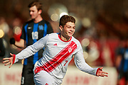Indiana University soccer player Victor Bezerra (7) celebrates after scoring a goal against University of Kentucky during the second round of the 2019 NCAA Tournament Sunday, November 24, 2019 at Memorial Stadium in Bloomington, Ind. Fifth ranked IU beat 19th ranked Kentucky 3-0. Bezerra scored all three goals.