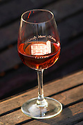 Glass of rose wine embossed with Chateau Mire l'Etang La Clape. Chateau Mire l'Etang. La Clape. Languedoc. France. Europe.