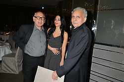 Left to right, MICHAEL NYMAN, MARIA SILVERA and HANIF KUREISHI at a dinner hosted by Liberatum to honour Francis Ford Coppola held at the Bulgari Hotel & Residences, 171 Knightsbridge, London on 17th November 2014.