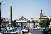 Egyptian Flaminio Obelisk in Piazza di Popolo, Rome, Italy in 1974