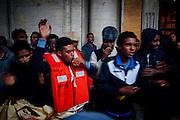 Migranti ospiti del centro d'accoglienza Baobab, protestano in piazza del Campidoglio, Roma 11 ottobre 2016. Christian Mantuano / OneShot<br /> <br /> Migrants and refugees demonstration in Piazza del Campidoglio in central Rome on October 11, 2016. Christian Mantuano / OneShot