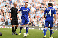 John Terry of Chelsea speaks to Referee Mike Dean. Barclays premier league match, Manchester city v Chelsea at the Etihad stadium in Manchester,Lancs on Sunday 21st Sept 2014<br /> pic by Andrew Orchard, Andrew Orchard sports photography.