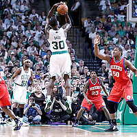 26 May 2012: Boston Celtics power forward Brandon Bass (30) takes a jumpshot over Philadelphia Sixers power forward Lavoy Allen (50) during the Boston Celtics 85-75 victory over the Philadelphia Sixer, in Game 7 of the Eastern Conference semifinals playoff series, at the TD Banknorth Garden, Boston, Massachusetts, USA.