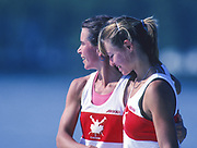 Barcelona, SPAIN.  CAN W2X,  stroke, Katherine HEDDLE and  bow Marnie MCBEAN,  1992 Olympic Rowing Regatta Lake Banyoles, Catalonia [Mandatory Credit, © Peter Spurrier/ Intersport Images]
