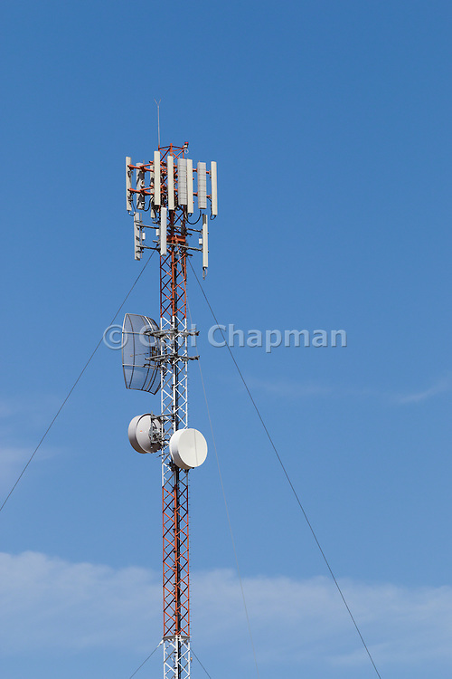 Antennas for rural cellular, microwave and communications  mobile telephone system on a triangular lattice tower in country Findley, News South Wales, Australia. <br /> <br /> Editions:- Open Edition Print / Stock Image