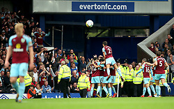Burnley players celebrate with their fans after Jeff Hendrick scores the opening goal - Mandatory by-line: Matt McNulty/JMP - 01/10/2017 - FOOTBALL - Goodison Park - Liverpool, England - Everton v Burnley - Premier League