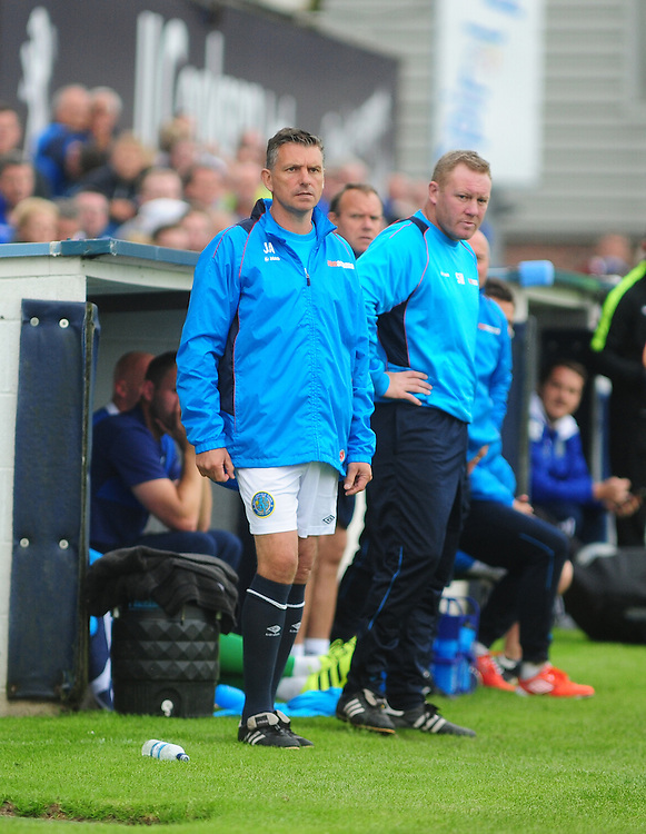 Macclesfield Town's manager John Askey in the technical area<br /> <br /> Photographer Andrew Vaughan/CameraSport<br /> <br /> Vanarama National League - Macclesfield Town v Lincoln City - Saturday 27 August 2016 - Moss Rose - Macclesfield<br /> <br /> World Copyright © 2016 CameraSport. All rights reserved. 43 Linden Ave. Countesthorpe. Leicester. England. LE8 5PG - Tel: +44 (0) 116 277 4147 - admin@camerasport.com - www.camerasport.com