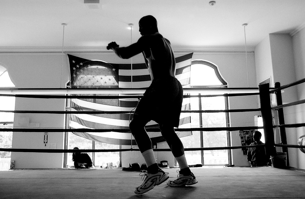 Olympic boxer Michael Bennett works out in a Chicago gym