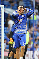Chelsea striker Diego Costa (19) holding head during warm up during the EFL Cup match between Chelsea and Bristol Rovers at Stamford Bridge, London, England on 23 August 2016. Photo by Matthew Redman.