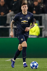 November 7, 2018 - Turin, Italy - Victor Lindelof of Manchester United in action during the Group H match of the UEFA Champions League between Juventus FC and Manchester United FC on November 7, 2018 at Juventus Stadium in Turin, Italy. (Credit Image: © Mike Kireev/NurPhoto via ZUMA Press)