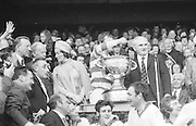 The Cork goalie receiving the Sam Maguire after the All Ireland Senior Gaelic Football Championship Final Cork v Galway in Croke Park on the 23rd September 1973. Cork 3-17 Galway 2-13.