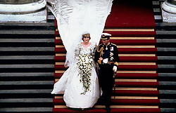 Prince Charles, Prince of Wales and Diana, Princess of Wales leave St. Pauls Cathedral in London following their wedding on July 29, 1981.