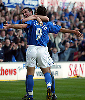 Photographer: Scott Heavey<br />Ipswich Town V Portsmouth. 18/04/03.<br />Pablo Counago celbrates making it 2-0 during this Nationwide Division one match at Portland Road.