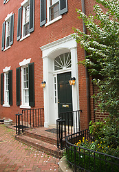 Washington DC; USA: The Georgetown area, known for its shopping and historic brick homes.  John and Jacqueline Kennedy house, Marbury House, 3307 N Street NW, dogwood in bloom..Photo copyright Lee Foster Photo # 20-washdc79723